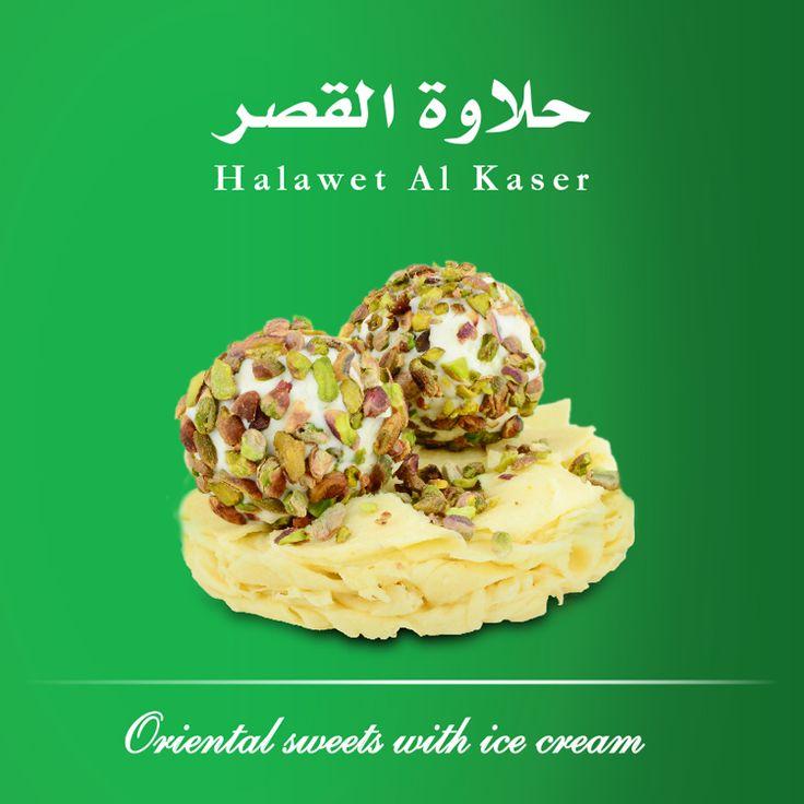 Halawat el Kasser (Kashta #icecream with #pistachios, halawet al jeben).  Halawet el Jeben chunks topped with two balls of kashta ice cream.