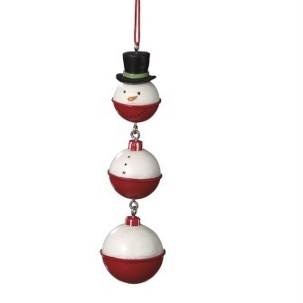 New Fishing Bobber Snowman Pole Christmas Ornament
