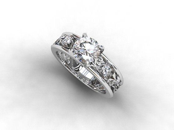 Wide filigree ring with 1.00ct diamonds by TorkkeliJewellery