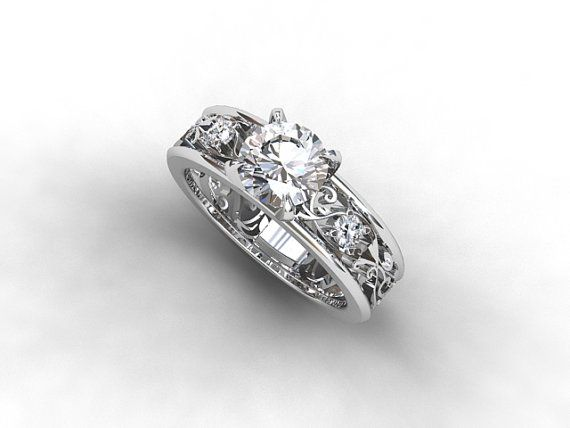 Wide filigree ring 0.90ct E-Vvs2 GIA diamond by TorkkeliJewellery