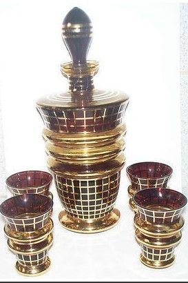 BOHEMIAN CZECH ART DECO GLASS DECANTER 4 GLASSES PROBABLY PODBIRA BROTHERS HAIDA