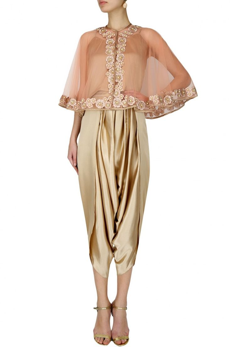 RIDHI ARORA Peach floral thread embroidered cape with an inner and dark beige dhoti pants set
