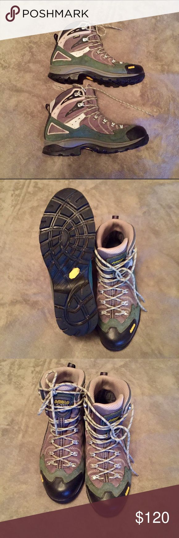 Women's Asolo Hiking Boots Excellent condition! Worn once! Amazing hiking boots with awesome tread to keep your toes & feet safe  These boots can be used for short hikes or backpacking. I truly love these boots but love another pair more so never wear these  Asolo Shoes