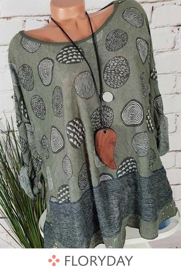 Blusen mit Rundhalsausschnitt, langen Ärmel und Blockfarben