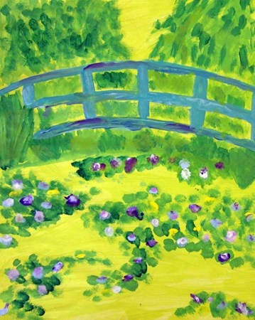 "Art by 4th grade student from exhibit ""Claude Monet's Bridge"", International School of Minnesota, #Art4Literacy"