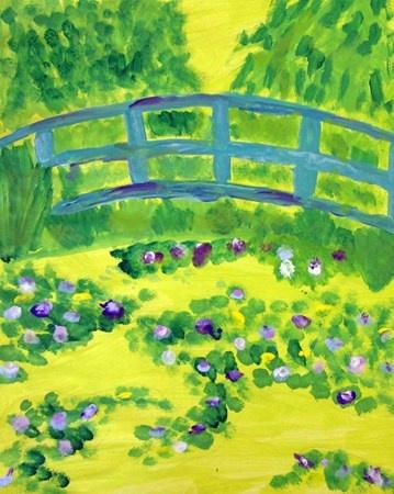 "Art by 4th grade student from exhibit ""Claude Monet's Bridge"", International School of Minnesota, #Art4Literacy"