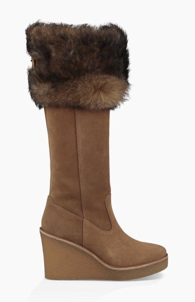 66f186bbc99f UGG Valberg Toscana Chestnut Brown Suede Fur Cuff Wedge Tall Boot NWOB   fashion  clothing  shoes  accessories  womensshoes  boots (ebay link)