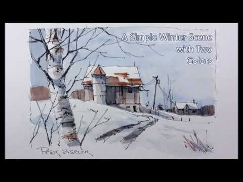 Wishing everyone a great 2017. Pen and Wash winter Barn. Just two colors. Peter Sheeler - YouTube