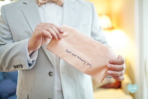 """A bride wrote out """"Can't wait to marry you!"""" and had it embroidered in her handwriting in a handkerchief for her groom."""