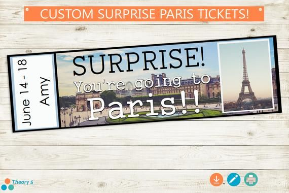 Printable And Editable Tickets To Paris Adobe Editable Pdf Etsy Surprise Trip Reveal Custom Tickets Trip