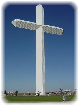 Groom, Texas. Ten million people pass by every year. One thousand stop each day. This 190 foot tall free standing Cross can be seen from twenty miles away.