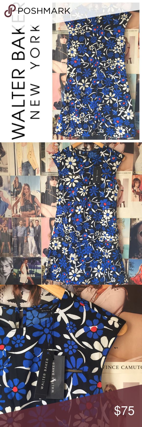 """⭐️HOST PICK⭐️ Walter Baker   Cara Dress Definitely not a shrinking violet of a dress!! This happy flowery sheath dress from Walter Baker is versatile and comfortable. HOST PICK! 6. Bust 36"""". Length 34.5"""". Waist 34"""". Two front zip chest pockets, 2 low zipper details. Back button close. Extra button included. NWT. Walter Baker Dresses"""