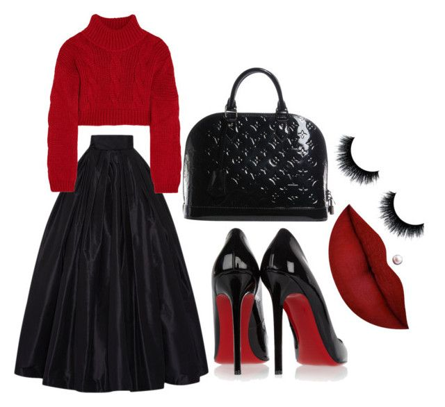 """""""red ❤"""" by aylaxmachado on Polyvore featuring Naeem Khan, Christian Louboutin, Vivienne Westwood Anglomania, Louis Vuitton and Anastasia Beverly Hills"""