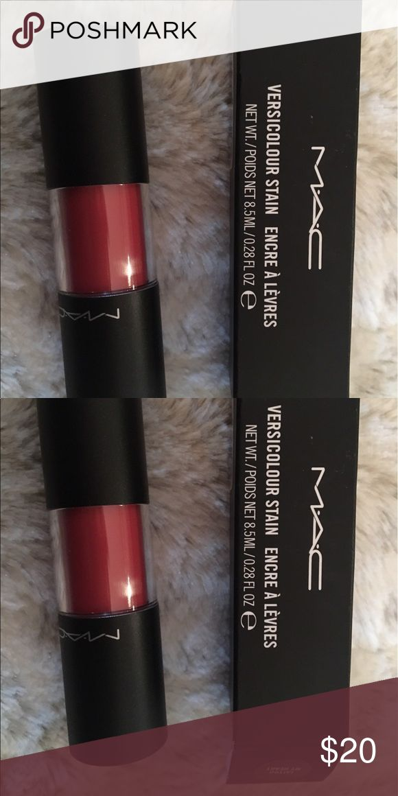 Versicolour MAC lip stain Versicolour Mac lip stain in color tattoo on my heart. New in box never used! Please bundle to save on shipping. I love a good bundle! MAC Cosmetics Makeup Lipstick