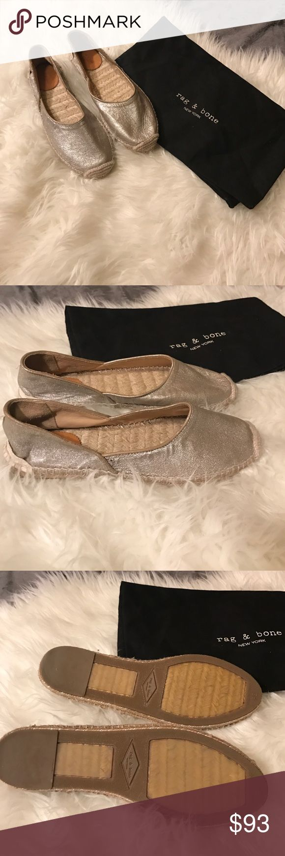 Rag and Bone Giorgie espadrilles flats Brand new silver espadrilles. Excellent for the summer. Size 39 and unfortunately don't fit my wide feet 😞. Very soft lamb leather. Comes with dust bag. rag & bone Shoes Espadrilles