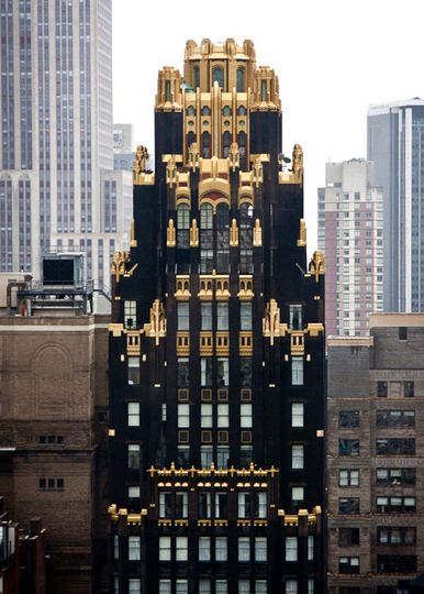 The American Radiator Building. 40 West 40th Street, in midtown Manhattan, New York City. By architects John Howells and Raymond Hood in 1924 and built for the American Radiator and Standard Sanitary Company.
