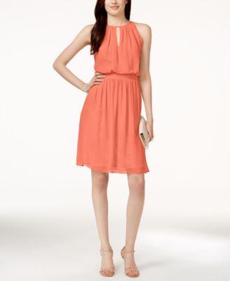Adrianna by Adrianna Papell Chiffon Blouson Halter Dress    macys.com
