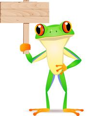 Frog with blank sign board