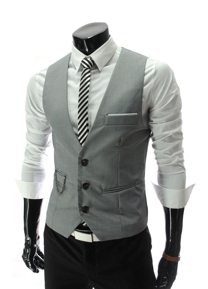 Fashion Style V-Neck Slimming Single-Breasted Polyester Vest For Men Sammydress.com