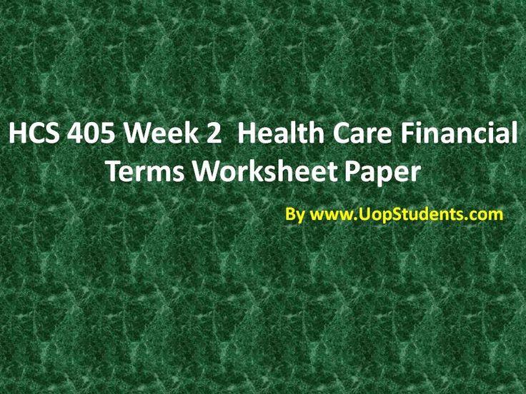 HCS 405 Week 2 Health Care Financial Terms Worksheet Paper
