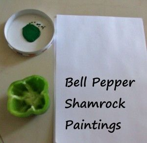 St. Patrick's Day Activity for Kids: Green Pepper Shamrock Paintings