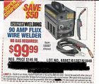 Coupon to save $50 on 90 Amp Flux Wire Welder @ Harbor Freight Tools - http://couponpinners.com/coupons/coupon-to-save-50-on-90-amp-flux-wire-welder-harbor-freight-tools/