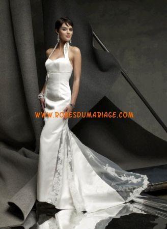 St. Pucchi belle robe de mariée glamour avec traîne bretelles au dos décorée de broderie satin Style z301