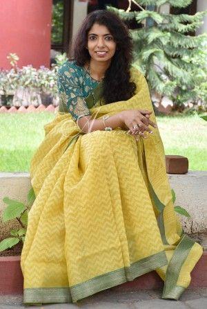 Yellow organza saree benaras blouse
