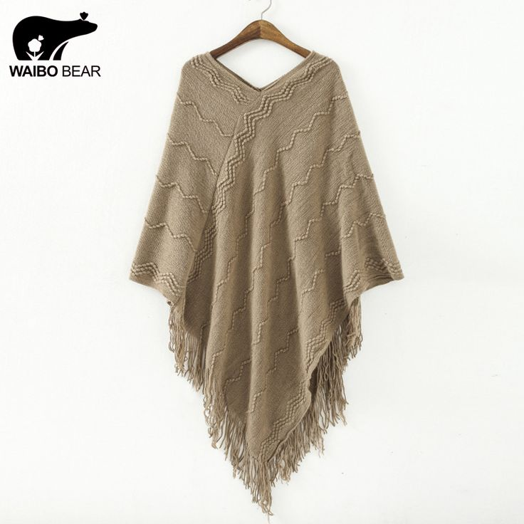 Fashion Women Batwing Sleeve Tassels Hem Solid V-Neck Ladies Knitwear Cloak Tricot Sweater Knitting Mantle WOW www.lady-fashion.... #shop #beauty #Woman's fashion #Products