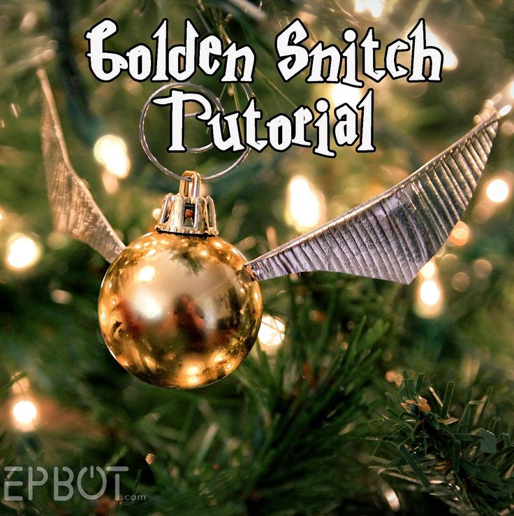 Harry Potter-themed Christmas tree - Make Your Own Golden Snitch Ornaments! from @epbot