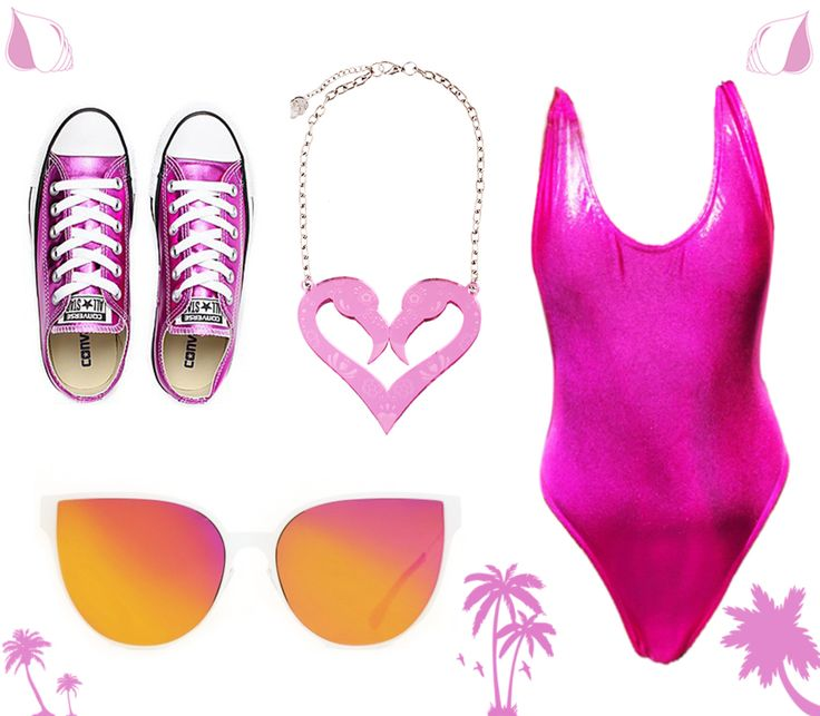 The absolute tropical outfit for this summer, all flashy, all pink!! Can't miss any of these products!!  Shoes: www.converse.com Swimming suit: www.radpolewear.com Necklace: www.kiradonjewel.com Sunglasses: www.italiaindependent.com