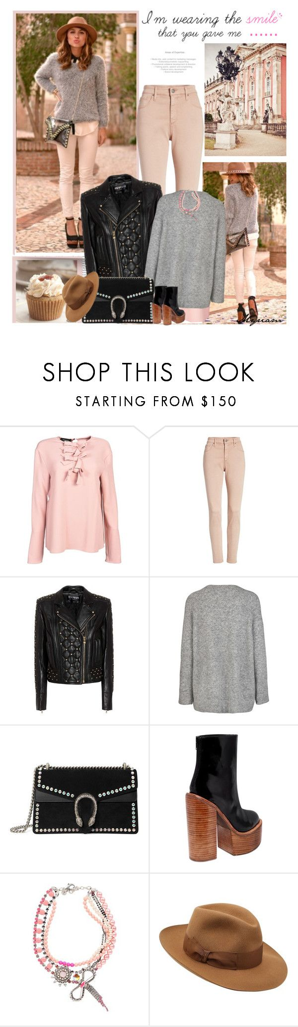 """cool girl in jacket leather"" by lovemeforthelife-myriam ❤ liked on Polyvore featuring Rochas, AG Adriano Goldschmied, Balmain, Gucci, Jeffrey Campbell, REMINISCENCE and Borsalino"