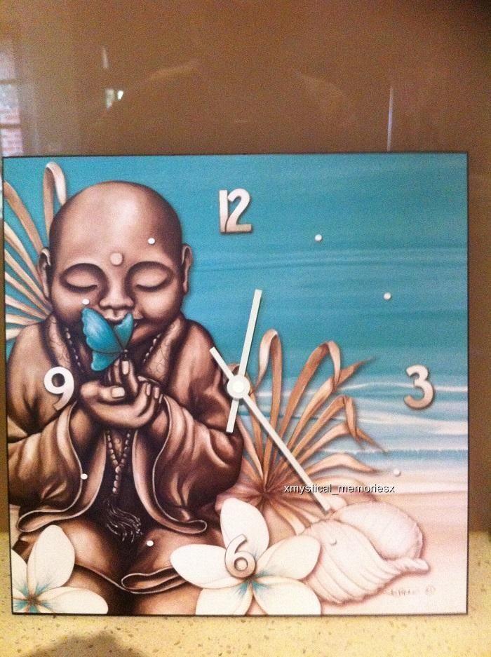 Lisa Pollock-Wall Clock- Beach Monk Buddha Home Decor Great Gift Idea
