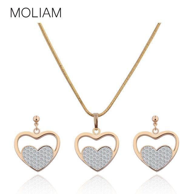 MOLIAM Романтические Свадебные Ювелирные Наборы для Женщин Позолоченные Сердце Любовь Кристалл Кулон Ожерелье Серьги T017