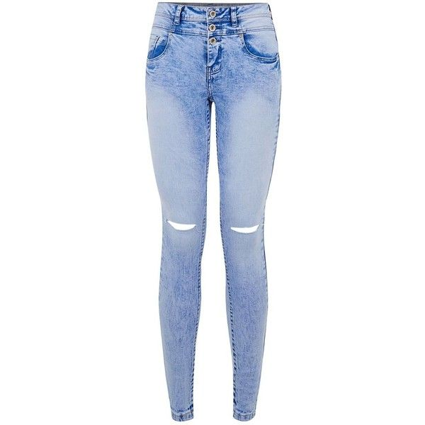 Petite 28in Blue Acid Wash Ripped Knee High Waisted Skinny Jeans ($38) ❤ liked on Polyvore featuring jeans, pants, bottoms, trousers, petite, destroyed skinny jeans, distressed skinny jeans, ripped jeans, blue skinny jeans and high-waisted jeans
