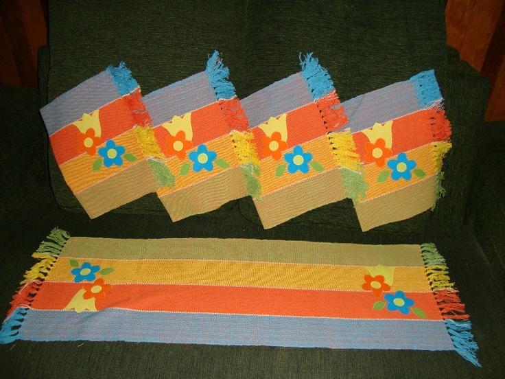 Jogos americanos bordados em peças feitas em tear  www.elo7.com.br/cacarecos