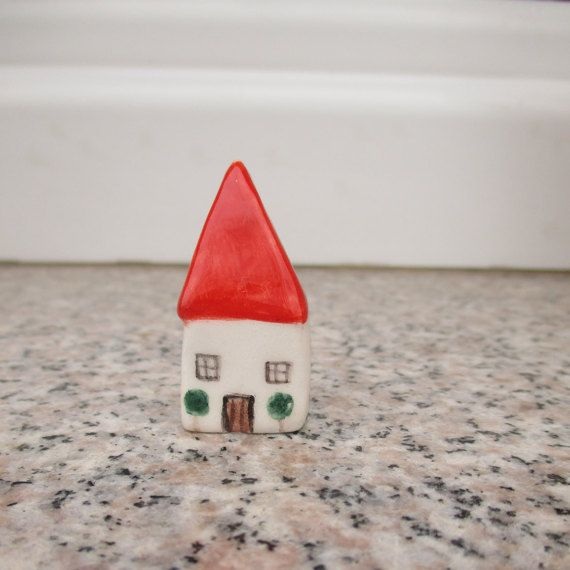 Miniature Pottery House,Little Clay House,Cute Small House,White House,Tiny Ceramic House,Miniature House,Tiny House,Small details,Red Roof