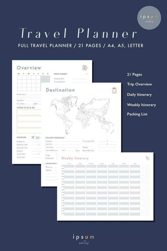 travel planner travel journal travel printable daily planner