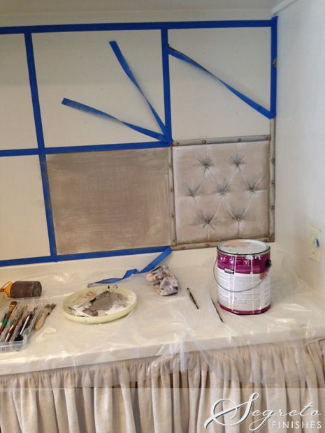 Segreto Secrets Blog--painted bulletin board to look tufted!