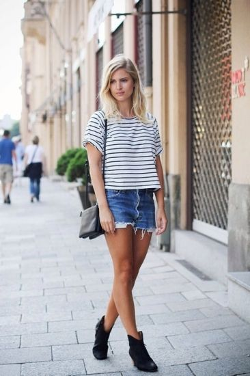 Easy stripes and jean shorts.