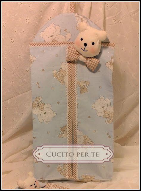 CUCITO per TE : Porta pannolini e copri veline con orsetti.