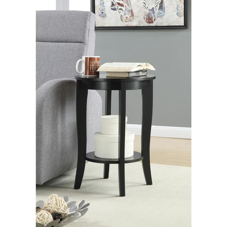American Heritage Round Black End Table