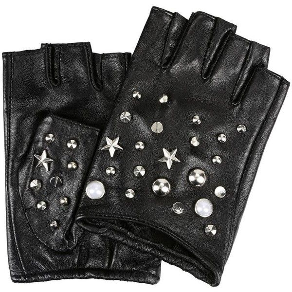 Karl Lagerfeld K/Studs Fingerless Glove (505 RON) ❤ liked on Polyvore featuring accessories, gloves, black, real leather gloves, studded gloves, karl lagerfeld, fingerless leather gloves and karl lagerfeld gloves