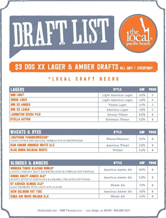 31 best Craft menus images on Pinterest Beer, Breakfast and Paper - beer menu