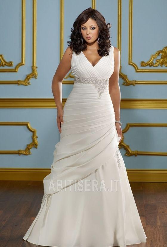 Abito da sposa 2014 Profondo V-scollo alta vita/cintola Corpetto Pieghe