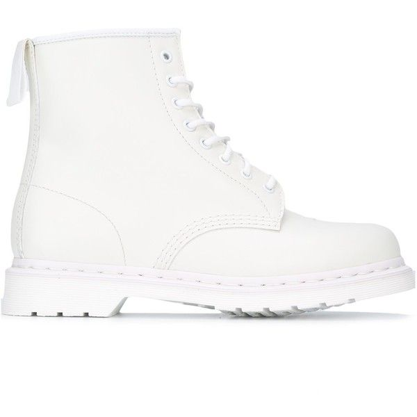 Dr. Martens lace-up boots (225 CAD) ❤ liked on Polyvore featuring men's fashion, men's shoes, men's boots, shoes, white, mens white boots, mens leather boots, mens lace up boots, dr martens mens shoes and mens leather shoes