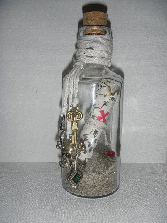 Pirate map in a bottle by KatieInOregon on Etsy, $15.00