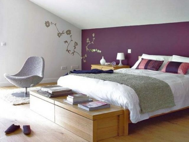 51 Awesome Purple Accents In Bedrooms With White Wall Bed Pillow Blanket And Wooden Side Tabl