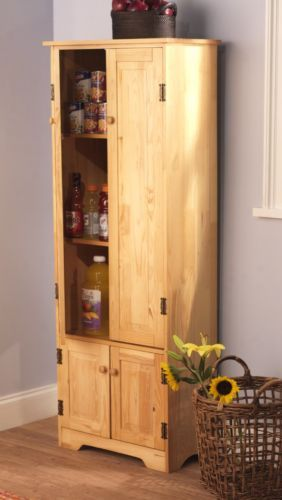 Tall Pine Wood Cabinet Kitchen Pantry Armoire Hutch Bakers Rack