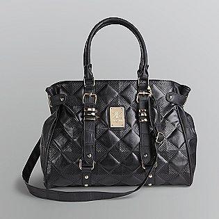 Kardashian Kollection Quilted Black Satchel Handbag